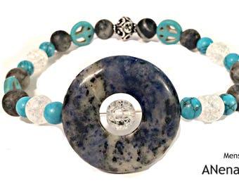FREEDOM Mens Bracelet : 925 Sterling Silver, Turquiose , Clear Quartz,Lapiz Lazuli,and Zebra Jasper  By ANena Jewelry