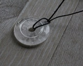 Clear Quartz Pi Stone 30 mm  Donut with Cord V