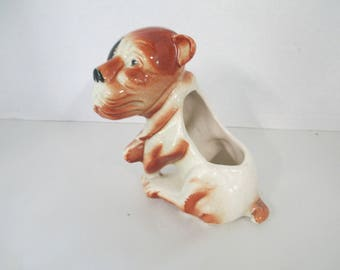 Decorative ceramic painted ugly Dog Planter  used poor condition