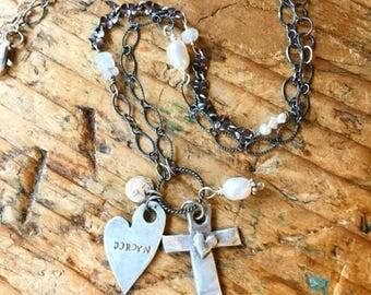 Fine Silver Cross & Heart Charm Necklace