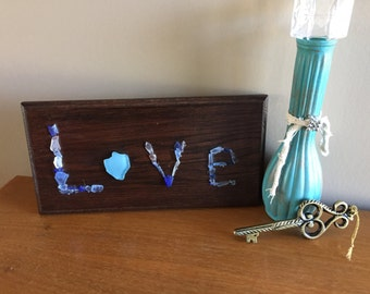 Tumbled Glass Love Wooden Sign Art