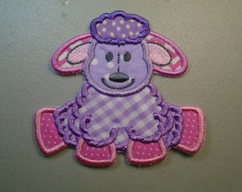 Stuffed lamb in pink and purple embroidered iron on or sew on applique  patch