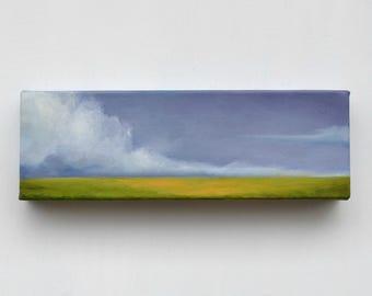 Cloud Landscape painting, original oil painting, wall art, green field - Latitude series fourteen