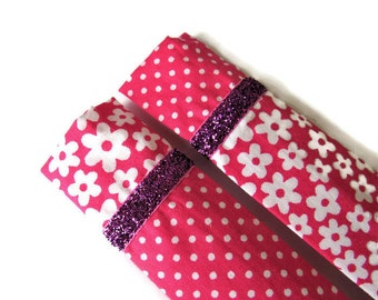 2 x Pink Protective Sleeve For Emery Board - Nail File Case - Emery Board Cover - Fabric Sleeves for Emery Boards - Nail File Sleeves