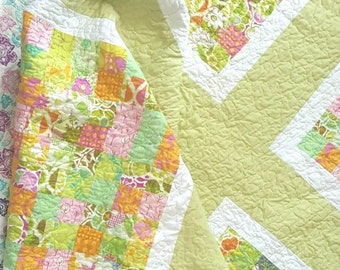 HURRY PRESIDENTS DAY Sale Lap Quilt - Baby Bedding - Picnic Quilt -  Modern Quilt