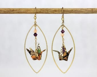 Gold Plated Dangle Earring Hoop Shape in Purple and Peach