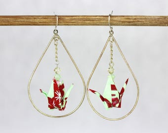 Sterling Silver Dangle Earring Mint Green and Red Origami Crane Tear Drop Shaped Hoop