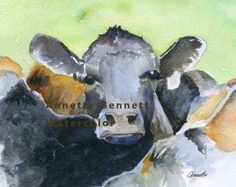 digital black angus, kitchen art cow art watercolor animal, cow painting cow watercolor, cow print canvas print farm animal , annete bennett