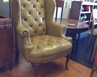 Vintage Tufted Leather High Wing Back Chair High Qaulity San Mateo
