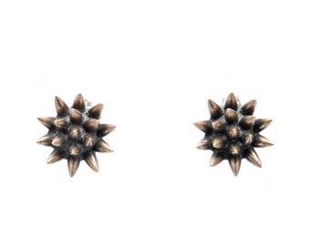40% OFF // spike earrings // oxidized bronze