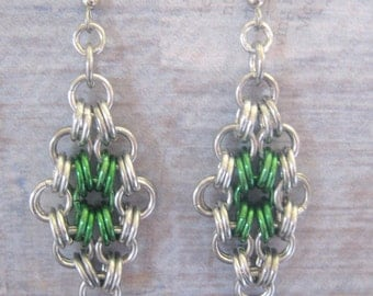 Earrings Chain Maille Green Aluminum Jewelry