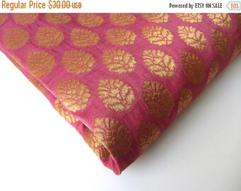 ON SALE Pink Gold flower silk brocade tie silk India silk fabric. fabric nr 167 fat quarter REMNANT