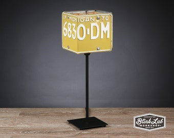 Michigan License Plate Table Lamp, Square, Man Cave, Garage, Repurposed, Upcycle, Automotive Lamp, Hand Crafted Light, 1970