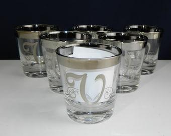 "6 Dorothy Thorpe Silver Rimmed Monogrammed Glasses ""V"" 4oz"