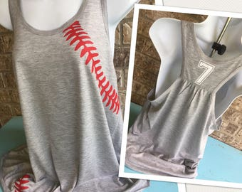 Baseball mom tank, baseball or Softball Laces Flowy Tank- Number on back,  Baseball Mom Tee, shirt with red laces, Baseball girlfriend