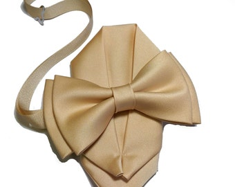 Adult & Kids sizes Honey Gold bow tie with pocket square set