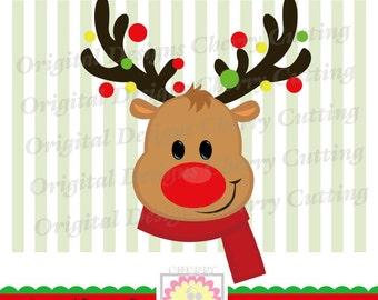 Reindeer boy SVG, Reindeer boy with scarf,Christmas reindeer Silhouette Cut Files, Cricut Cut Files CHSVG24 -Personal and Commercial Use