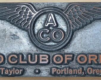 Vintage Metal Aero Club of Oregon, Portland, Oregon Printers Block Letterpress