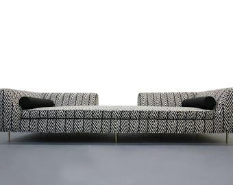Customized Mid Century European Open Back Sofa with Brass Legs