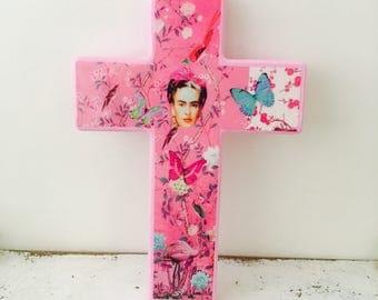Frida Kahlo Pink Wall Cross Butterflies and Flamingo