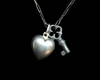 Lover's Necklace- A Sterling Silver Antique Heart Pendant Charm with Little Antique Key on Newer SS Eighteen Inch Delicate Chain