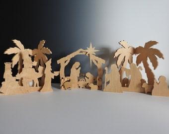 Nativity Scene Tabletop Creche Christmas Decoration Candle Manger Scene Decor