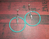 """Native American Simply Turquoise 1-1/2"""" Beaded Hoops"""