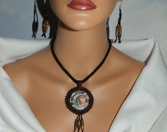 Lakota Charm EXCLUSIVE Native American Made Beaded Embroidery Chief with Animals Necklace and Earring Set