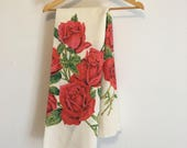 Vintage Tablecloth, Red Rose Linen Tablecloth, Roses Linen Vintage Table Linens,