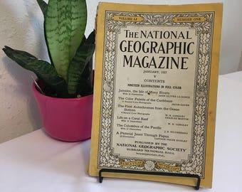 Vintage Magazine, January 1927, National Geographic, free shipping US & Canada