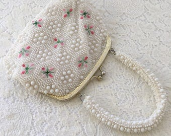 vintage white beaded handbag, vintage bead purse, made in Hong Kong, embroidered purse