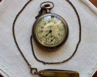 Vintage Stopwatch Pocket Watch Stop Pastor Sterling Company Chain Pen Knife  Antique AS IS