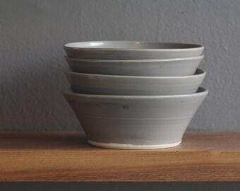 SALE ready made bowl. dark grey on porcelain bowl. modern pottery bowl