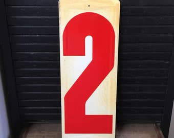 """Metal Gas Station Number 2- Off-White and Red-  metal sign number- gas station price number 23"""" tall - embossed Industrial"""