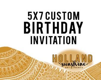 5x7 Custom Birthday Invitation
