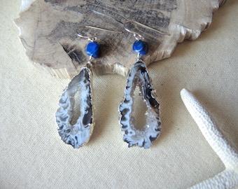 Agate Earrings, Agate Slice Geode Earrings, Lapis Lazuli Earrings, Sterling Silver Earrings, Agate Druzy Earrings, Jewelry Gifts For Her