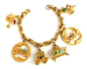 Vintage Charm Bracelet Gold Tone with 6 Large Jeweled Charms Carriage Train Car Stove Rocking Chair Bicycle
