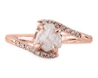 1.3 Carat Rough Diamond Ava Setting, 14k Rose Gold