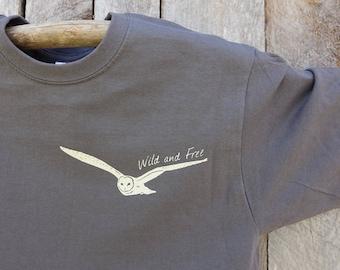 Men's Barn Owl tee, charcoal, Wild and Free, Owl in flight, Nature, Birders shirt, Birding tee, OWL, Thoreau, Men's crew tee
