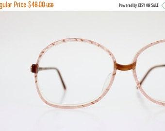 ON SALE Vintage 80's Oversized Italian Warm Peach Eyeglasses Frames