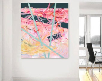 Original painting, abstract art, large abstract painting, pink abstract painting, acrylic painting, contemporary art, large wall art