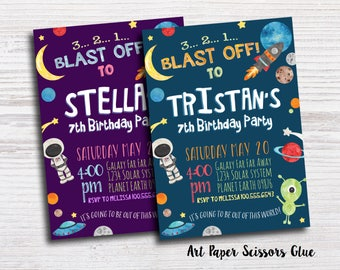 Out of space invitation diy printable birthday party for Space themed stationery