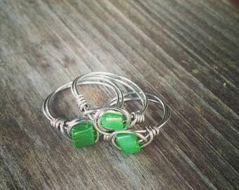 Green Seashell Ocean Treasures Beaded Ring~Any Size
