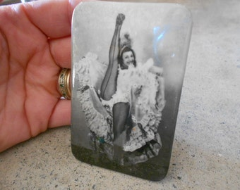 Risque French Cancan Dancer Celluloid Pocket Mirror Pin Up Girl Collectable
