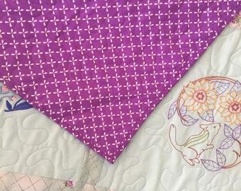 Machine Embroidered Purple Quilt