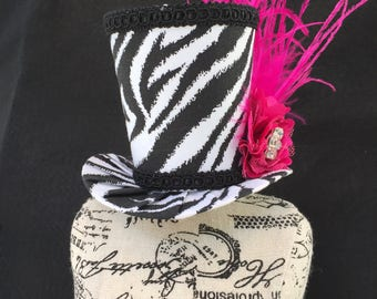Funky Zebra Mad Hatter Mini Top Hat for Wedding. Dress Up, Birthday, Tea Party or Photo Prop