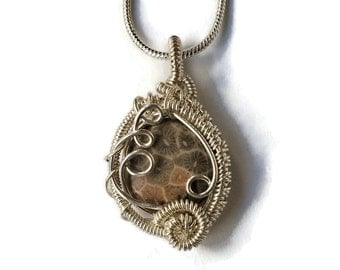 Dainty Fossilized Coral Necklace with Intricate Wire Work / Natural Agatized Fossil Coral Pendant / Ancient Ocean Collection