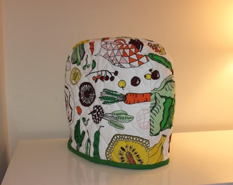 5 quart Lift-Up Bowl - Quilted Mixer Cover for Kitchen-Aid - Orange Yellow Maroon Fruit Fabric - Christmas Birthday