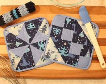 Hand Quilted Pot Holder-Crocheted Washcloth Set of 3 - Blue White Navy Christmas - Mother's Day Holiday Gift Basket Gift