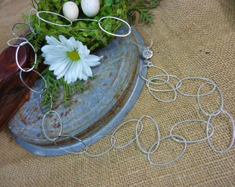 STERLING SILVER Extra Large Link Oval Chain Sundance Style Necklace 925